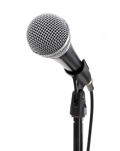 microphone on stand contains clipping path - mikrofon stock-fotos und bilder