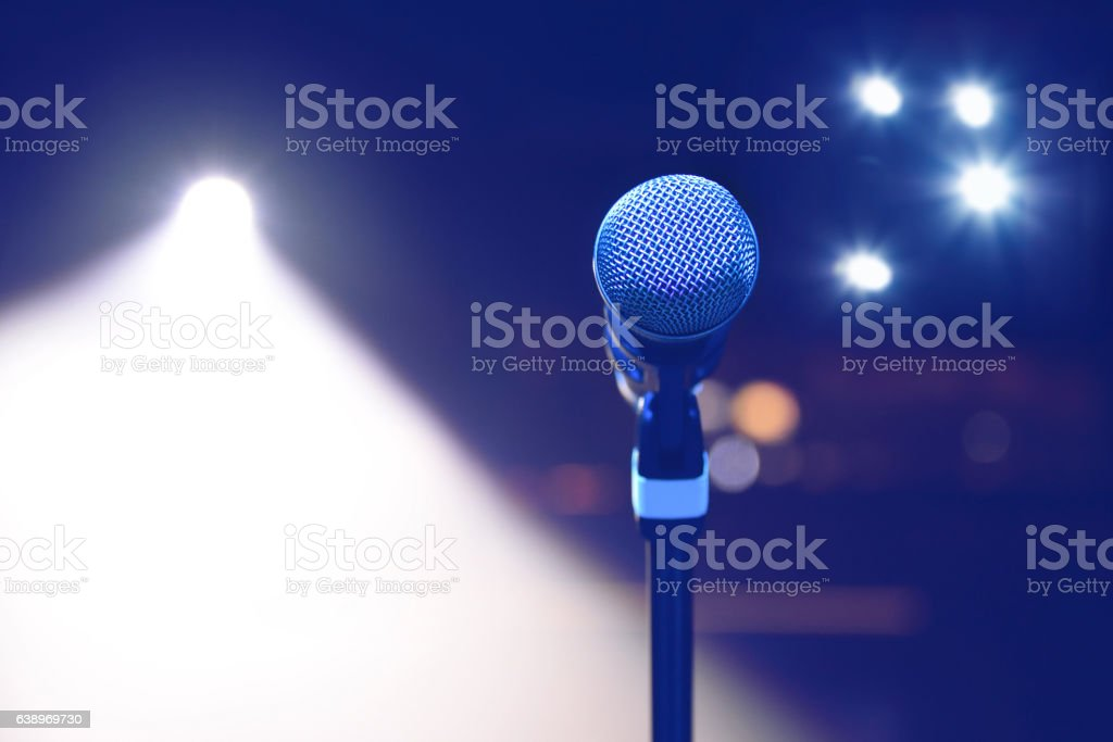 microphone on the background of dark hall and soffits. Soft – Foto