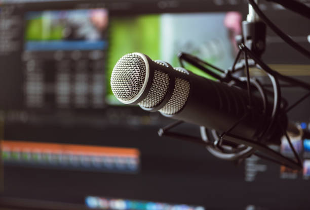 Microphone on the background of the computer monitor. Microphone on the background of the computer monitor. microphone stock pictures, royalty-free photos & images