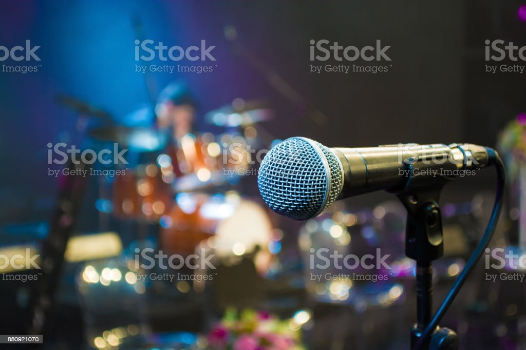 microphone on the background of the drum set close up stock photo