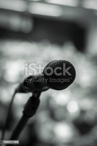 491577806 istock photo Microphone on the stage 169992568
