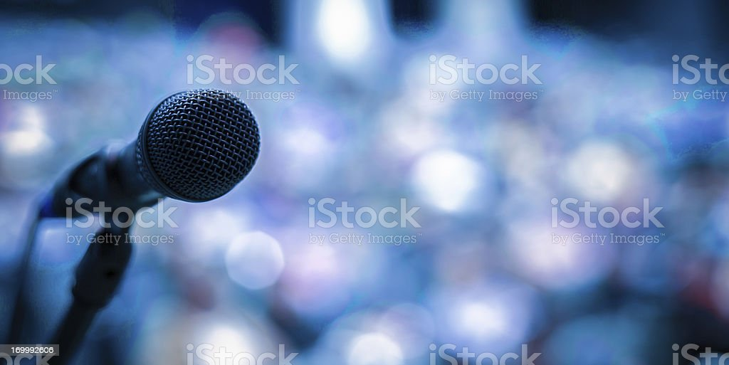 Microphone on the stage royalty-free stock photo