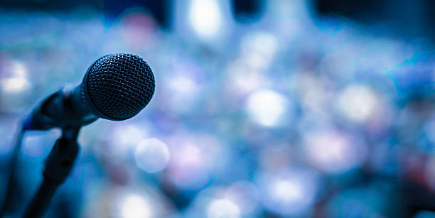 Microphone on the stage Microphone on the stage press conference stock pictures, royalty-free photos & images