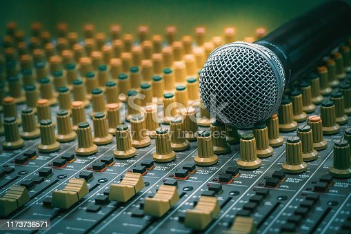 Microphone placed together with the audio mixer in the recording room, vintage film style