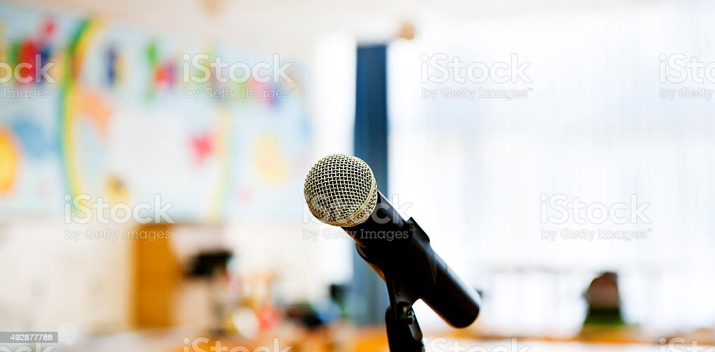 Microphone ready on stand, all set for conference to begin