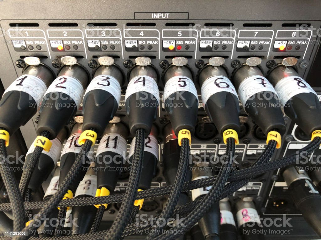 Microphone sound cables connected to the signal audio console on the...