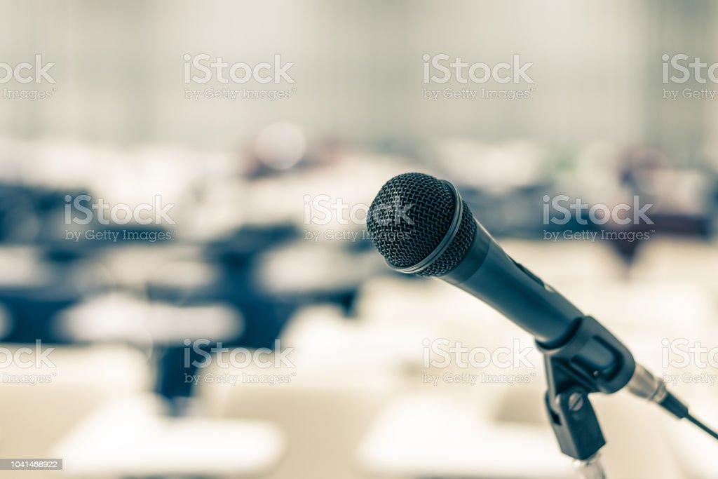 Microphone speaker in school lecture hall, seminar meeting room or...