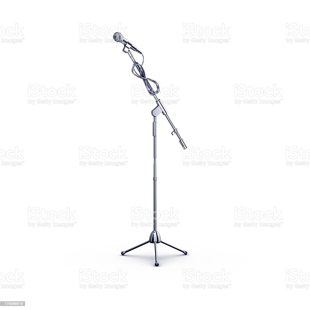 Microphone stand isolated on white background stock photo