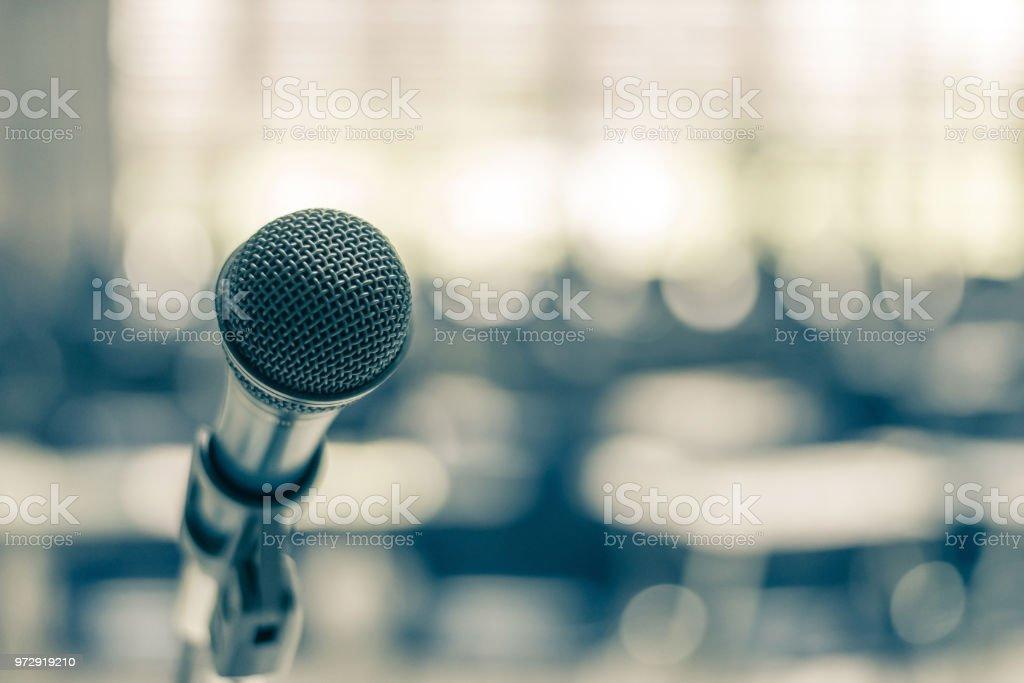 Microphone voice speaker in school lecture hall, seminar meeting room...