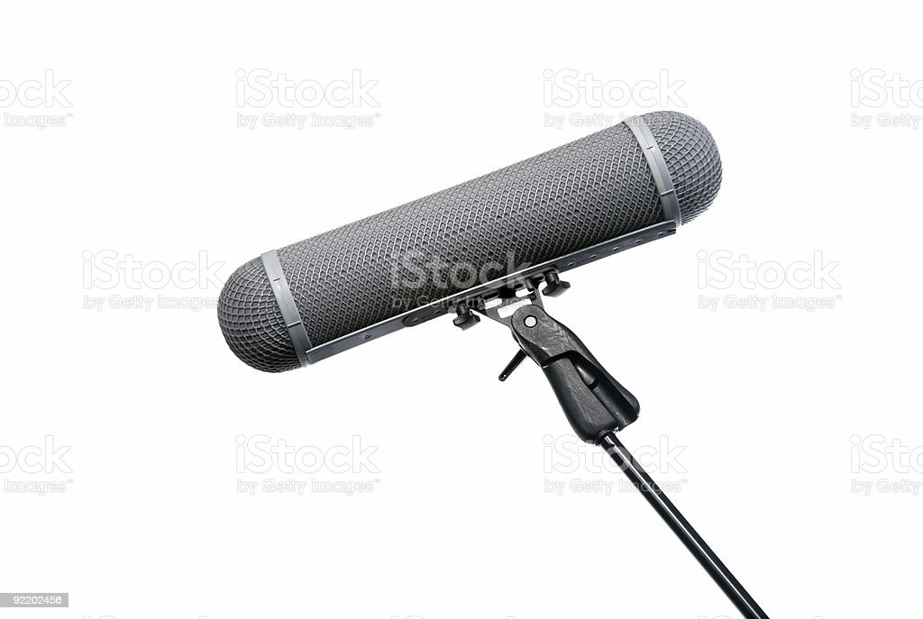 Microphone Windshield on Boom arm stock photo