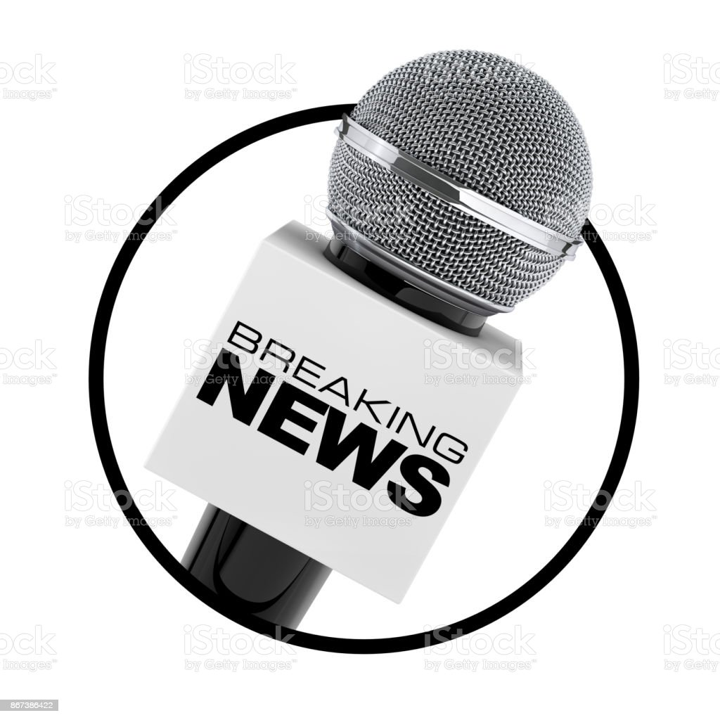 Mikrofon mit Breaking News Box Zeichen als Kreis-Symbol. 3D rendering – Foto