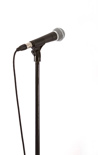 Microphone with clipping path isolated on white Recording studio microphone, isolated on white with a clipping path (studio shot). microphone stock pictures, royalty-free photos & images