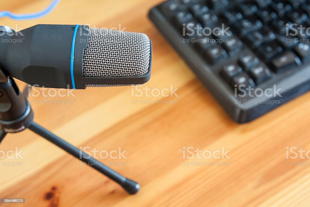 Microphone with computer stock photo