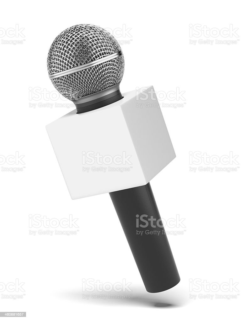 microphone with copy space box stock photo