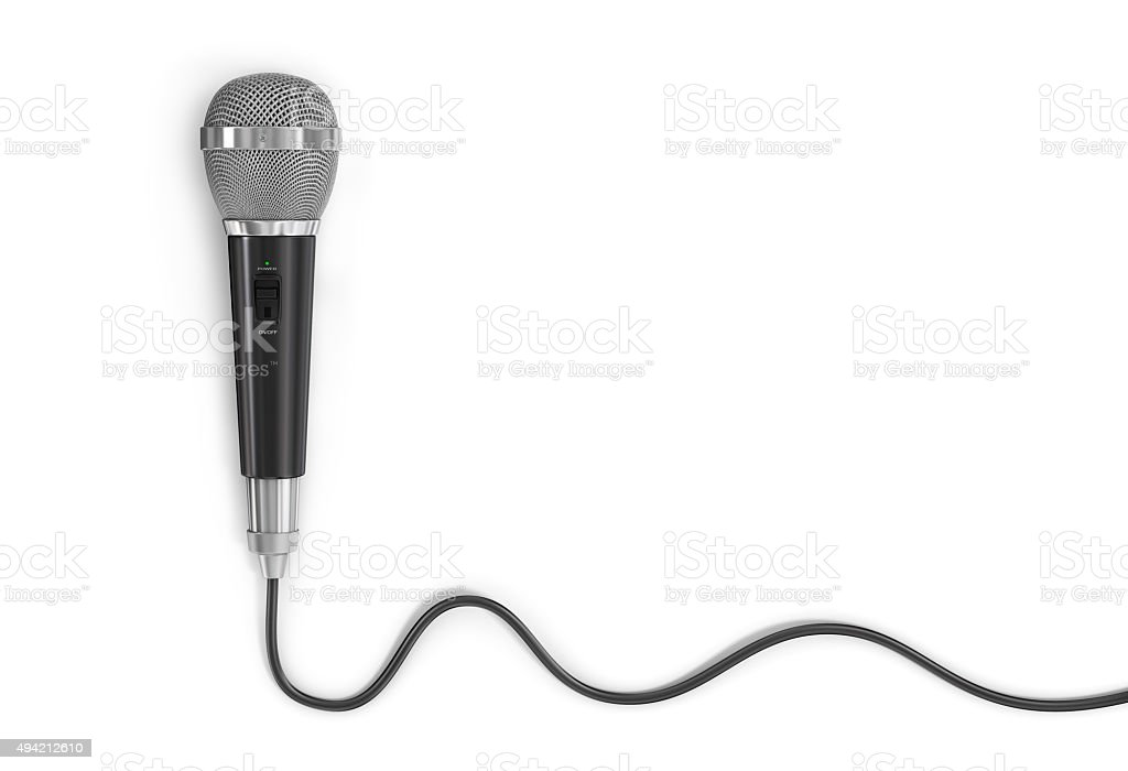 Microphone with cord on a white background. stock photo