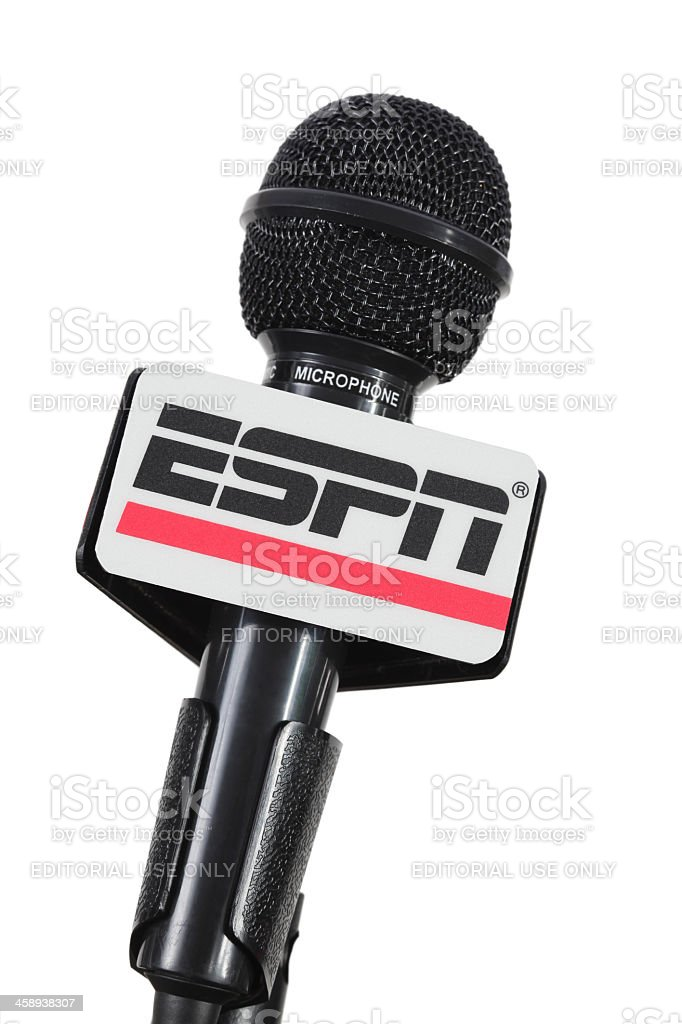 Microphone with ESPN mic flag stock photo