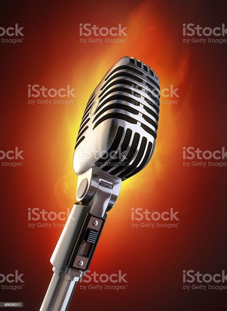 MIcrophone with flame stock photo