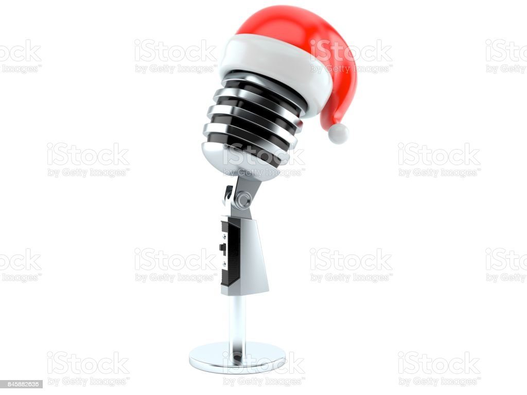 Microphone with santa hat stock photo