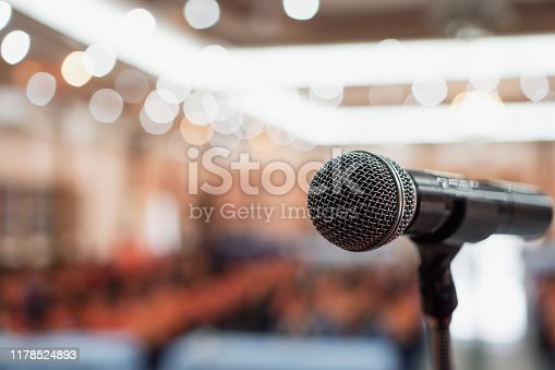 Microphones for speech or speaking in seminar Conference room, talking for lecture to audience university, Event light convention hall Background. Business Talk Presentation concept
