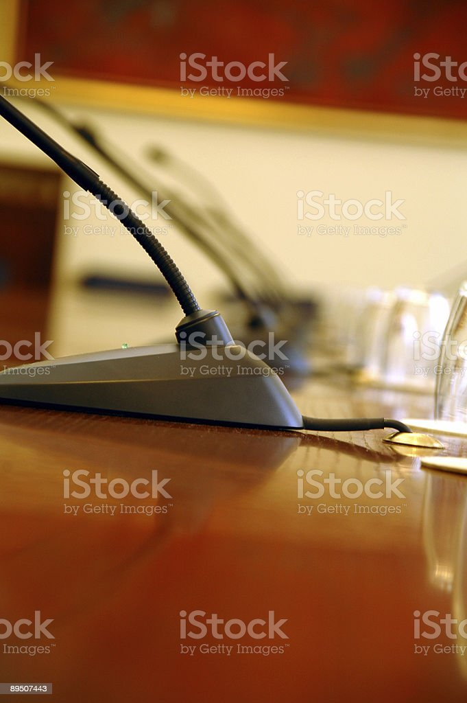 microphones in the empty conference hall royalty-free stock photo
