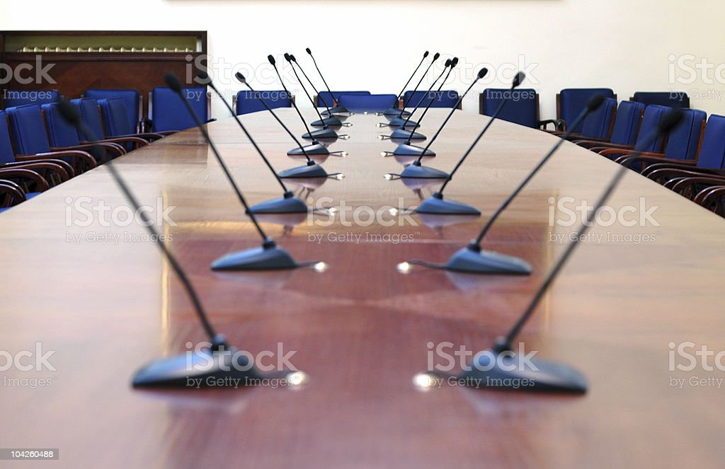 microphones in the empty conference room  Announcement Message Stock Photo