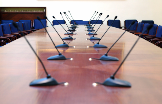 Microphones In The Empty Conference Room Stock Photo - Download Image Now