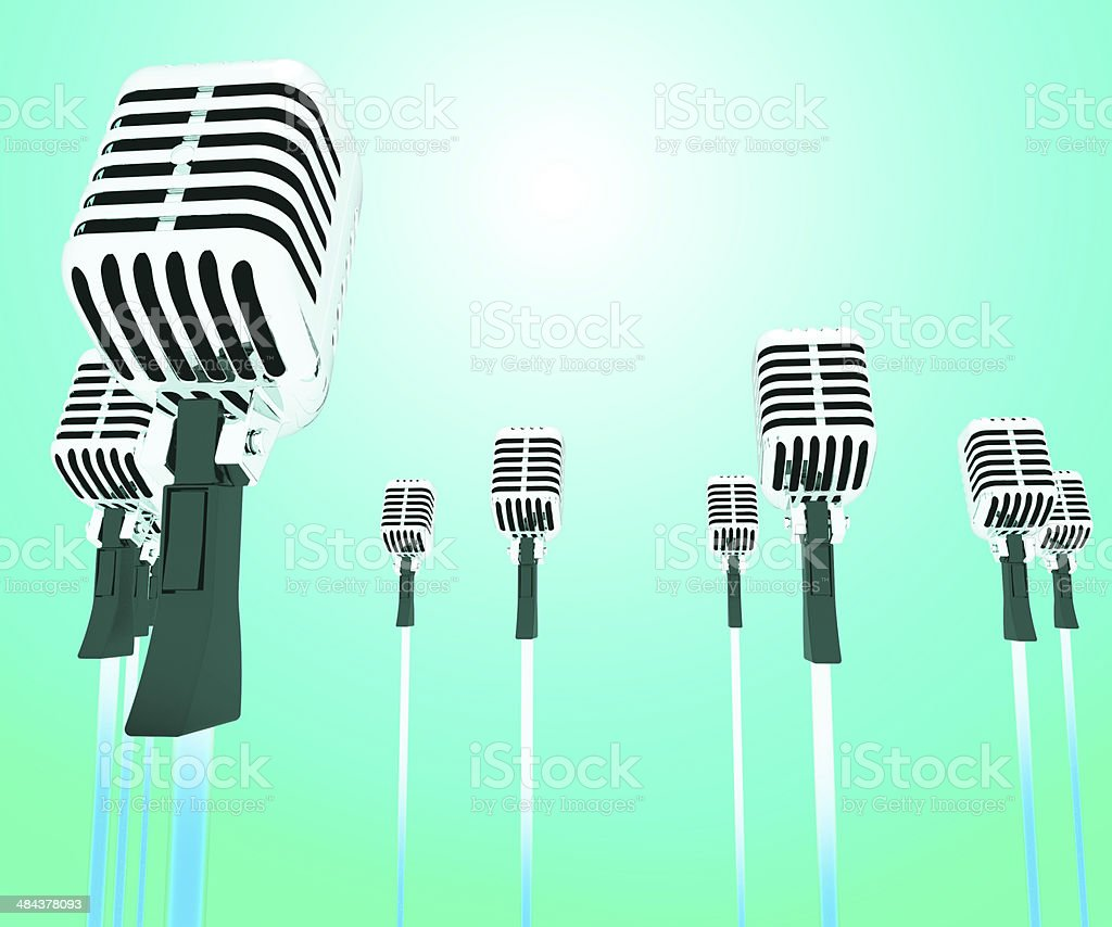 Microphones Micl Shows Music Groups Band Or Singing Hits stock photo