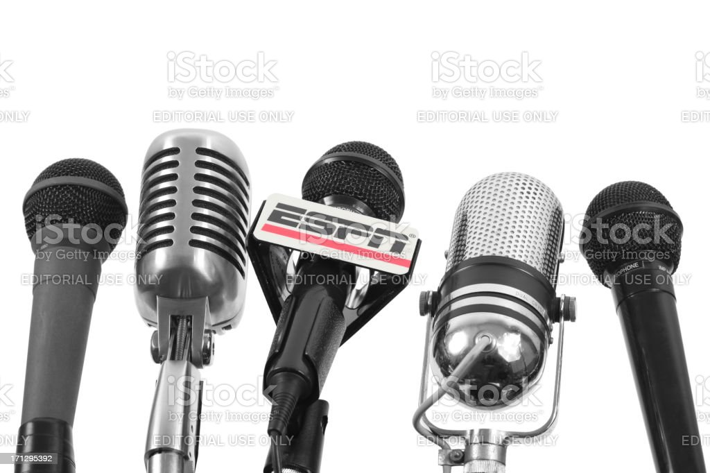 Microphones with ESPN mic flag stock photo