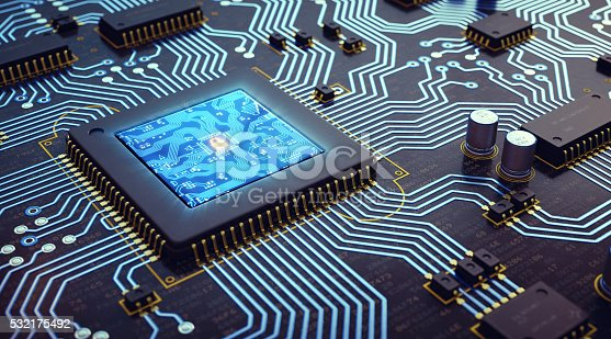 istock Microprocessor And Circuit Board 532175492