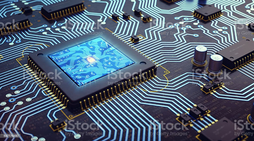 Microprocessor And Circuit Board stock photo