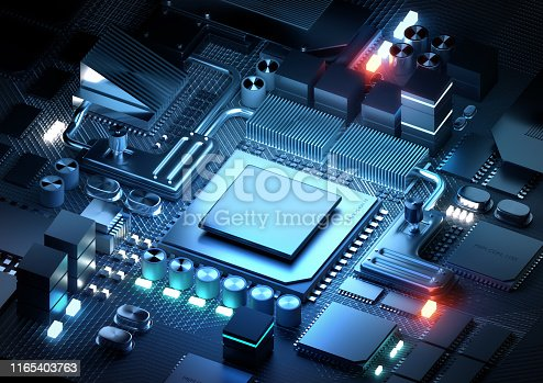 A silicon CPU and microprocessor technology for modern day applications. 3D render illustration.