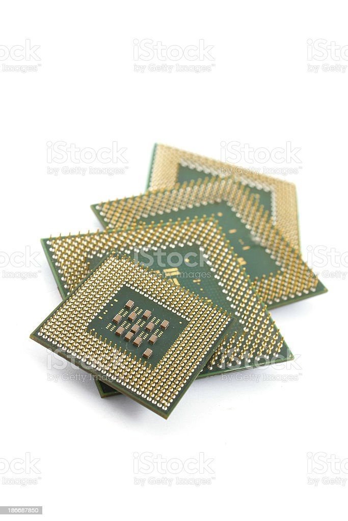 Microprocessor isolated on white background stock photo