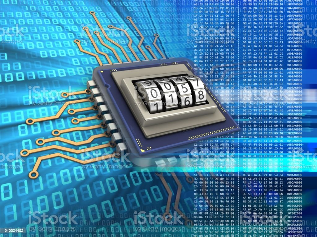 microprocessor  with code protection stock photo