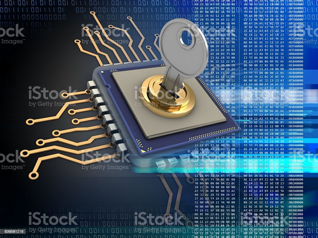 microprocessor  with key stock photo
