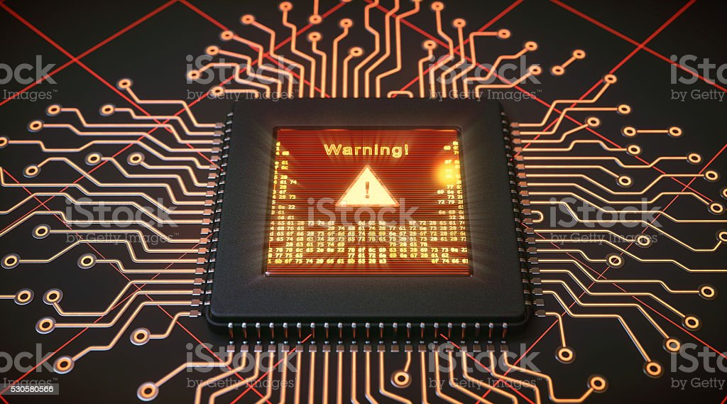 Microprocessor with warning display stock photo