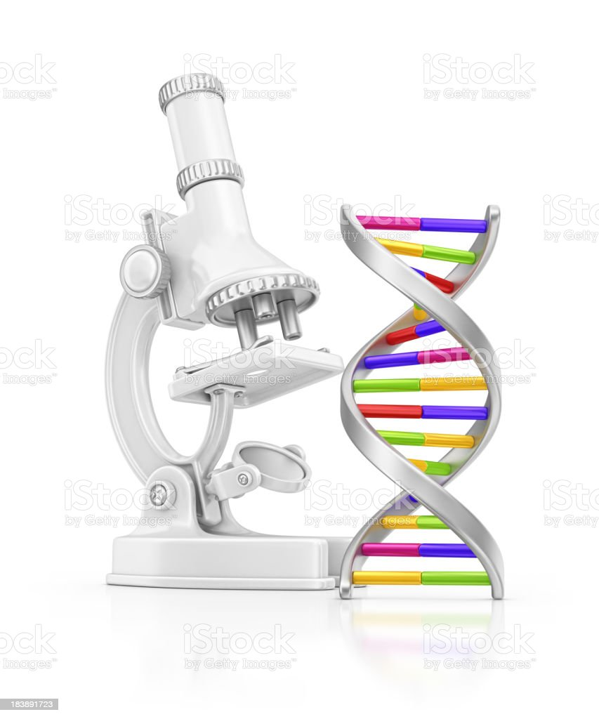 microscope and DNA royalty-free stock photo