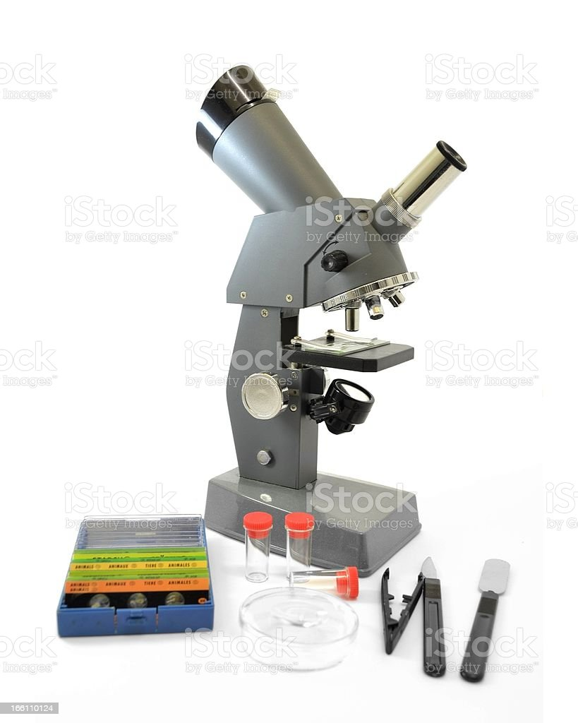 Microscope and science project equipment royalty-free stock photo