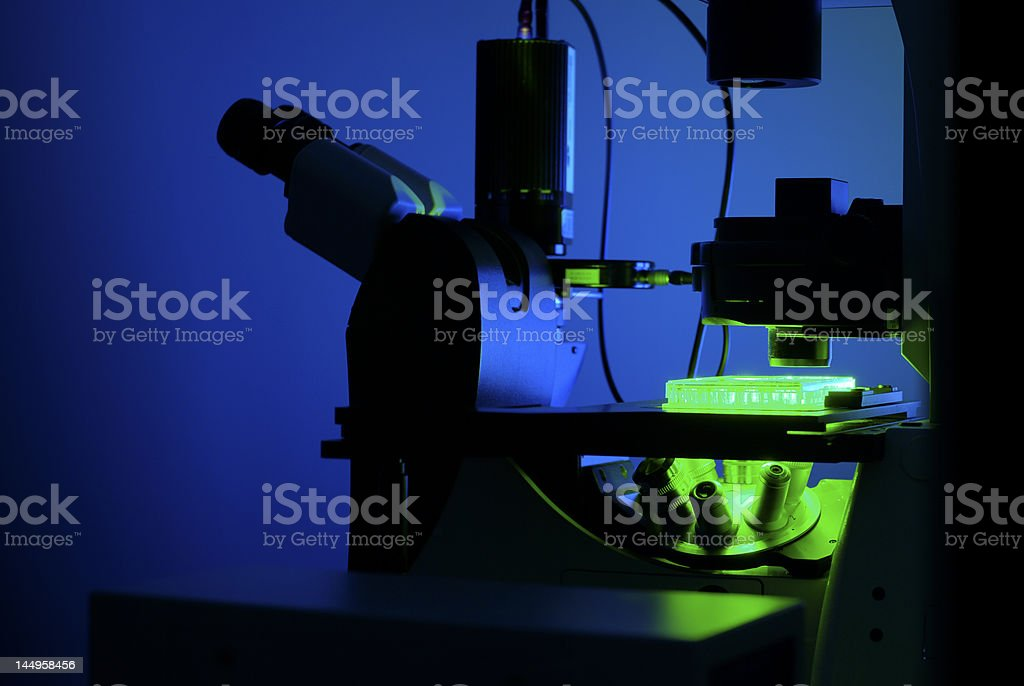 Microscope in blue light royalty-free stock photo