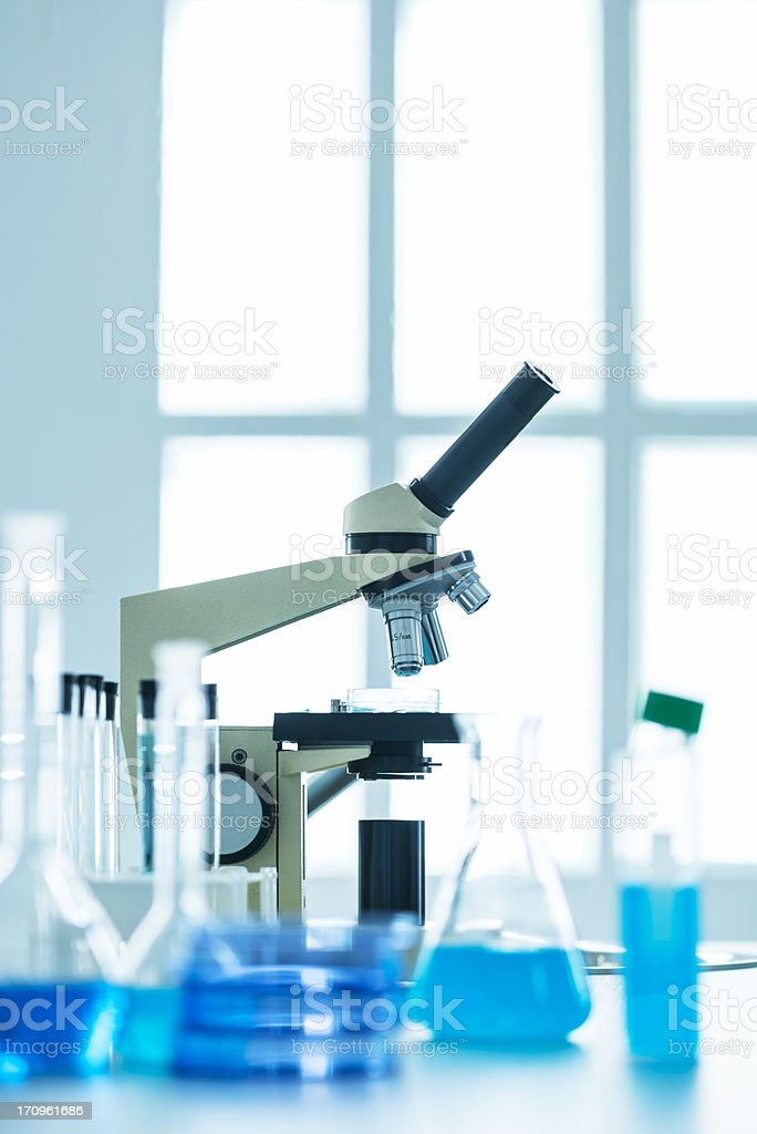 Microscope in laboratory royalty-free stock photo