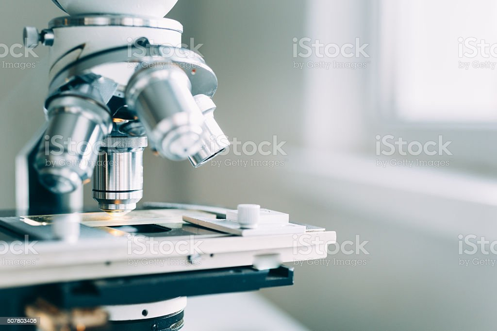Microscope in Laboratory stock photo