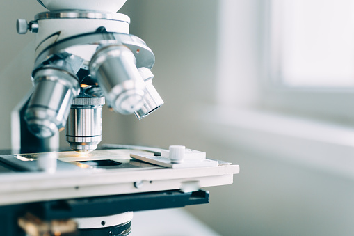 Microscope In Laboratory Stock Photo - Download Image Now