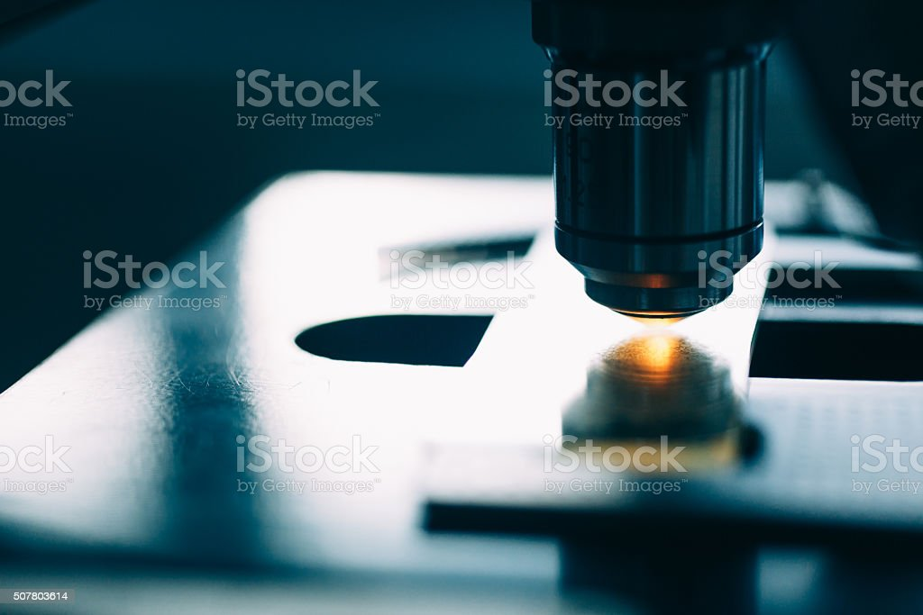 Microscope in Laboratory stock photo