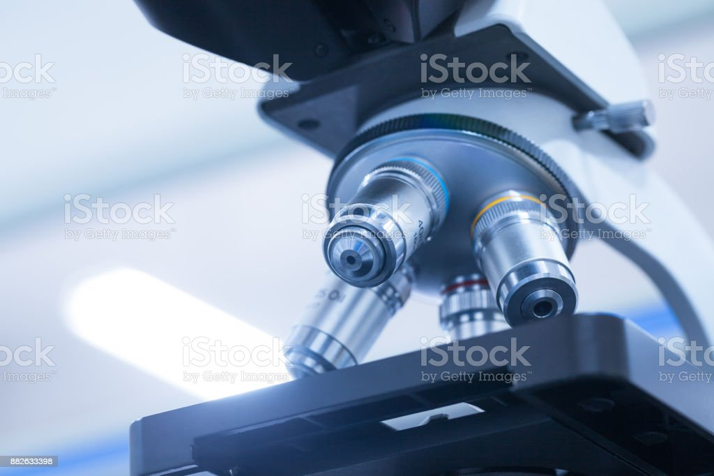 microscope in the lab bench stock photo