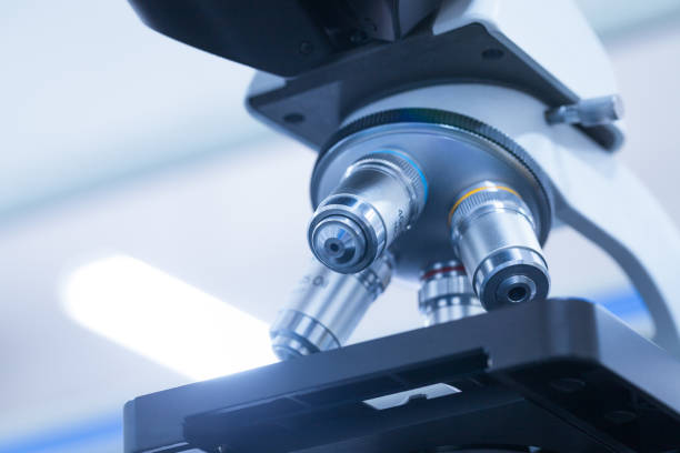 microscope in the lab bench - microscope stock photos and pictures