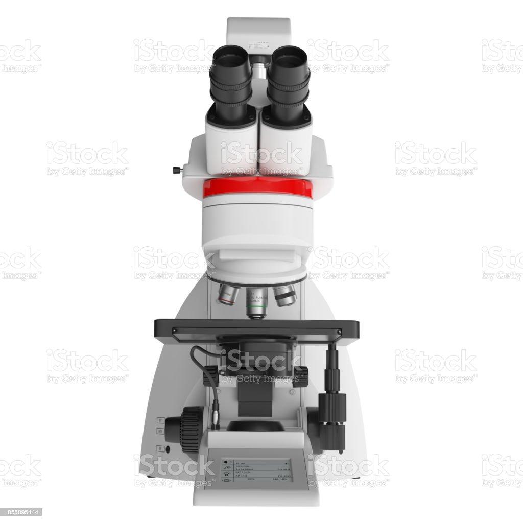 Mikroskop isoliert vor weißem Hintergrund - Vorderansicht – Foto