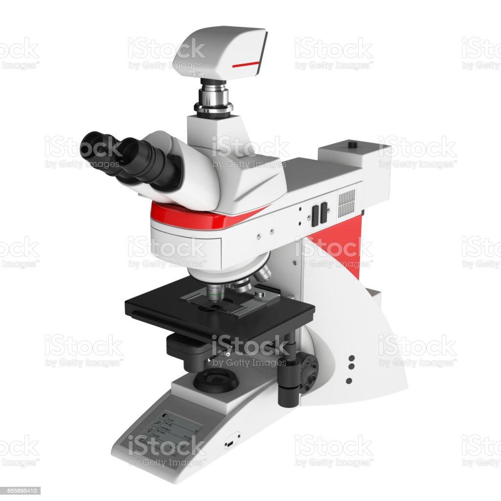 Mikroskop isoliert vor weißem Hintergrund - perspektivische Ansicht – Foto