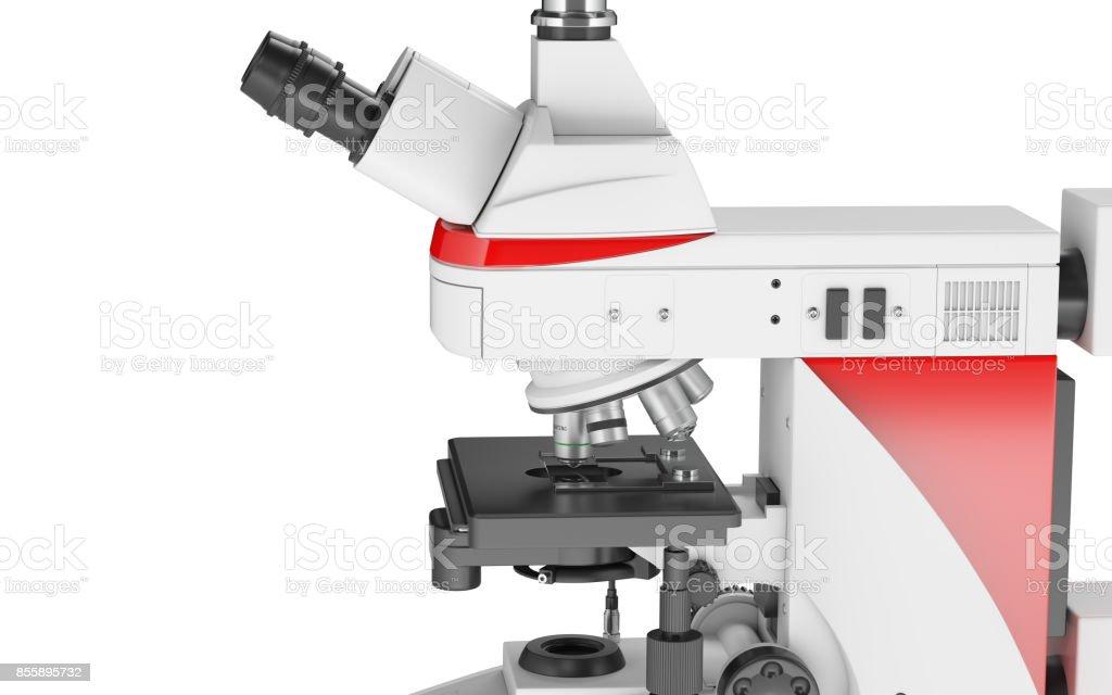 Mikroskop isoliert vor weißem Hintergrund - Seitenansicht – Foto