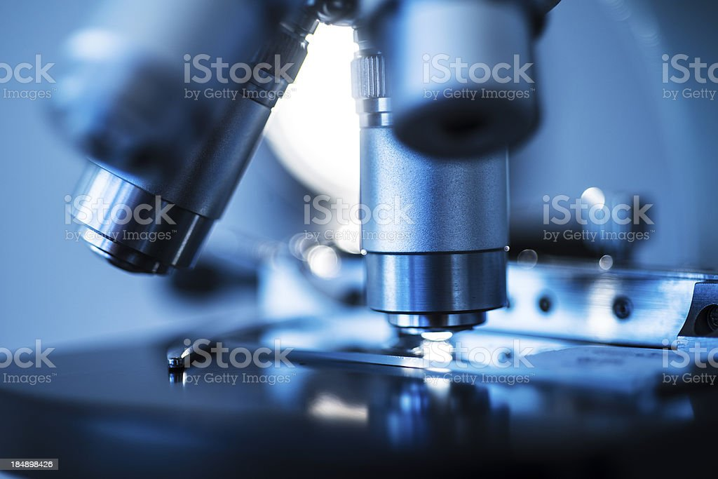 Microscope Lens On Slide stock photo