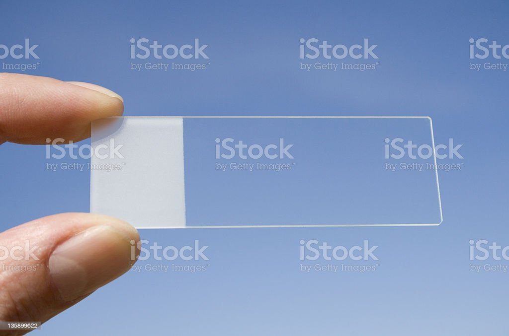 Microscope slide with a blue sky background stock photo