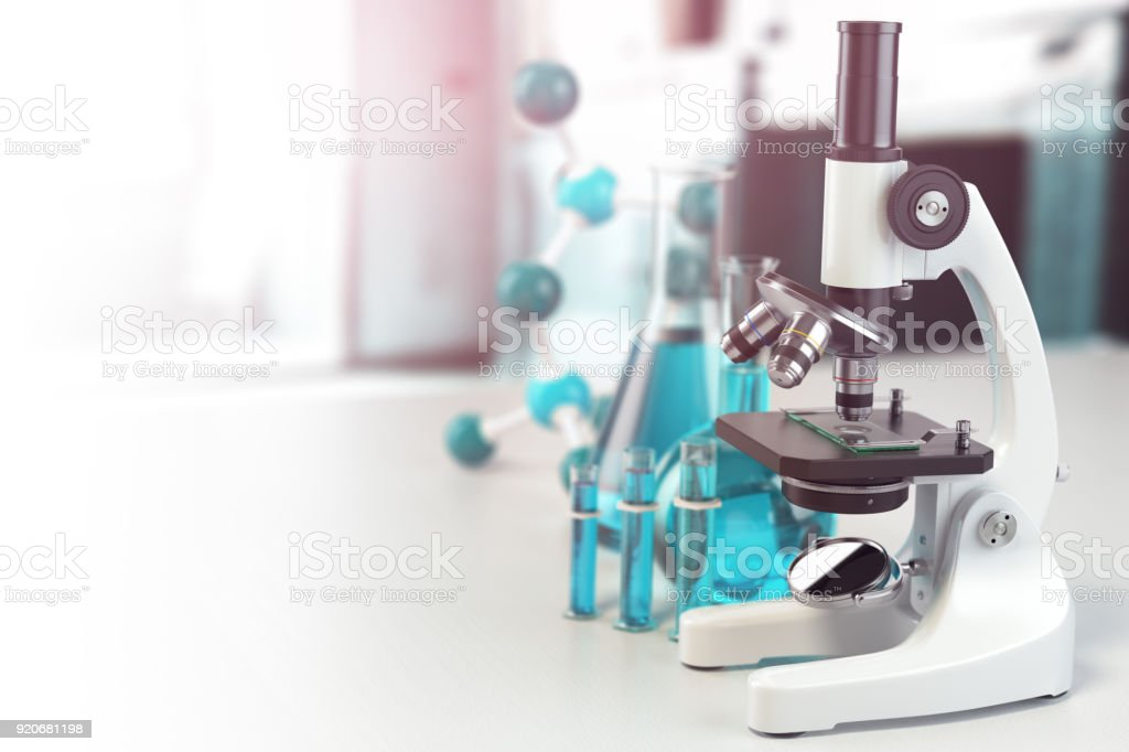 Microscope with lab glassware, flasks and colbas.Science laboratory research and chemistry white background. stock photo